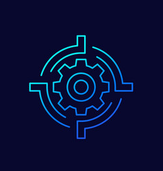 Gear and target line icon vector