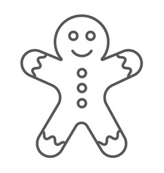 Gingerbread man thin line icon christmas vector