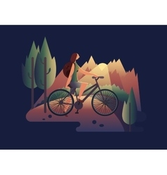 Girl on bicycle at sunset vector image