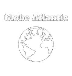 Globe atlantic view vector