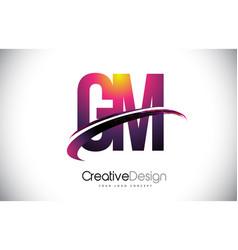 Gm g m purple letter logo with swoosh design vector