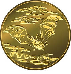 gold money coin with vector image