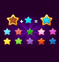 Golden and colors star for level up gui elements vector