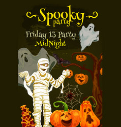 Halloween night party poster with spooky monsters vector