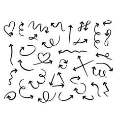 hand drawn arrows doodle curved arrow handmade vector image
