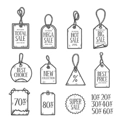 Hand drawn sales tags doodle set vintage vector