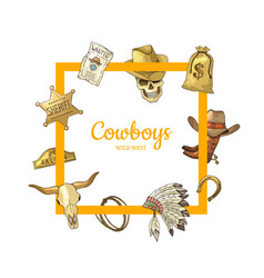 hand drawn wild west cowboy elements frame vector image