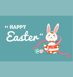 happy easter greeting card with easter eggs and vector image