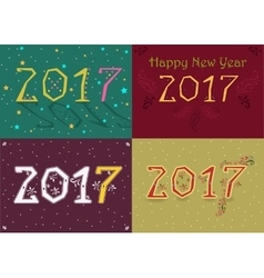 Happy new year 2017 retro geometric font vector