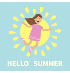 Hello summer greeting card Girl jumping isolated vector image