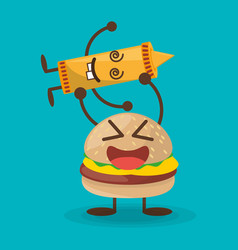kawaii burger and sauce mustard character vector image