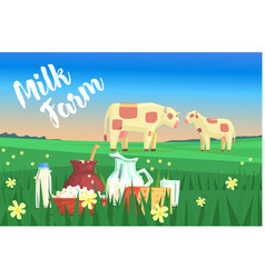 landscape with two cows and milk products on the vector image