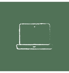 Laptop icon drawn in chalk vector