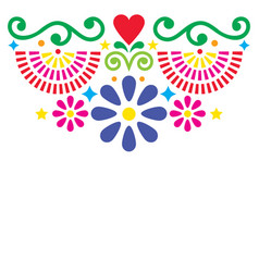 mexican folk art greeting card design vector image
