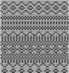 Monochrome seamless knitted pattern vector image