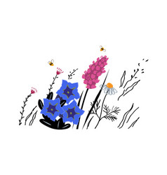 mountain flowers sketch vector image