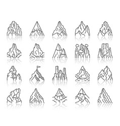 mountain simple black line icons set vector image