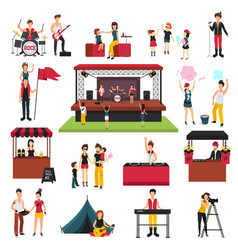 Music festival elements set vector