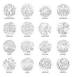 natural disaster icons collection vector image