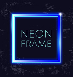 Neon vintage frame glowing rectangle banner on vector