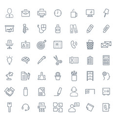 office icon set in thin line style symbols vector image