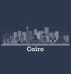 Outline cairo egypt city skyline with white vector