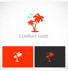 palm tree seagul tropic logo vector image