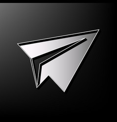Paper airplane sign gray 3d printed icon vector