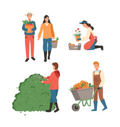 people at farm agronomist man and woman at field vector image