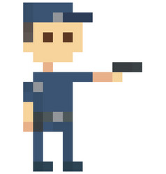 Pixel police man with pistol officer stands vector