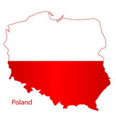poland silhouette flag map vector image