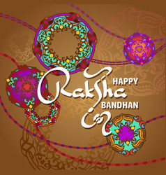 raksha bandhan greeting card design vector image