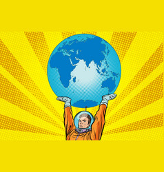 retro astronaut is holding the planet earth vector image