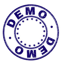 Scratched textured demo round stamp seal vector