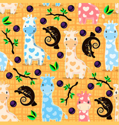 Seamless pattern with giraffes and chameleons vector