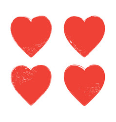 set of grunge red hearts on white background vector image