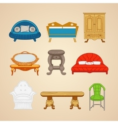 Set of of home furnishings on a vector