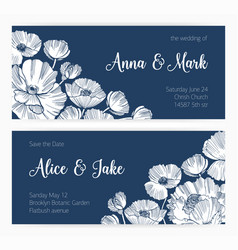 set of save the date card and wedding invitation vector image