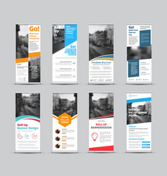set white roll-up banners with place for photo vector image