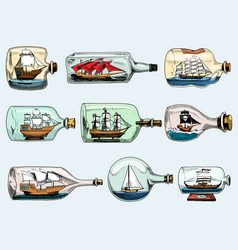 ship in bottle boat in miniature gifted vector image