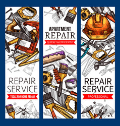 Sketch banners of repair service work tools vector