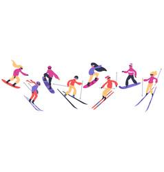 skiers and snowboarders winter sport activities vector image