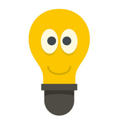 smiling light bulb with eyes icon isolated vector image
