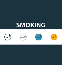Smoking icon thin line outline style from vector