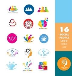 Social media people logo set vector image