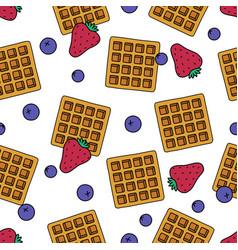 Sweet dessert and fruit seamless pattern cartoon vector