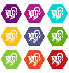 Tattoo style icons set 9 vector