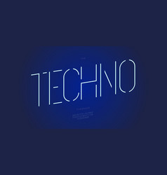 techno font line minimal style vector image