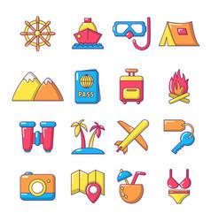 Travel summer icons set cartoon style vector