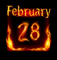 Twenty-eighth february in calendar of fire icon vector
